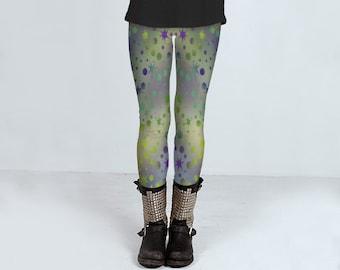 Leggings, designer yoga pants, star patterned leggings, rainbow leggings