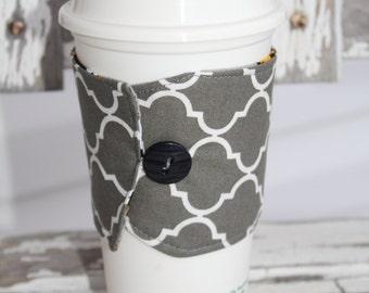 Reusable Coffee Cup Sleeve, Coffee Cup Cozy, Coffee Cozy, Coffee Cup Sleeve, Gray Quatrefoil, Ready to Ship