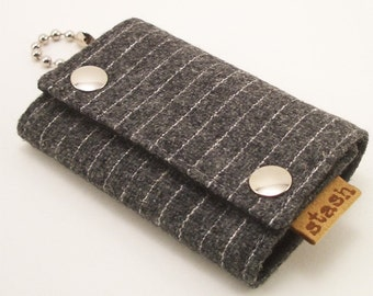 Small key chain wallet - gray vintage pinstripe wool - by stash