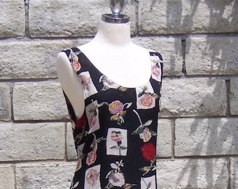 80s grunge dress tiny flower big roses rayon crepe reversible M