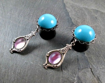 "Victorian Dangle Plugs - 9/16"" 14mm - Turquoise and Pink - Glass Gems - Plug Earrings - Dangle Gauges"