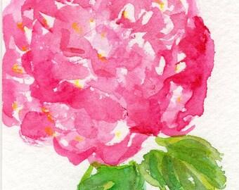 ACEO Original Pink Hydrangea Watercolor Painting, Hydrangea Art Card hydrangea painting, miniature painting, SharonFosterArt, hydrangea art