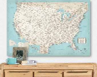 US Map with Pins Vintage USA Map Push Pin Map Canvas Large United States Map Poster Couple Travel Map Personalized Wedding Anniversary Gift