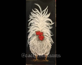 """11"""" X 22"""" #407 Fluff Tail Rooster Art on Rustic Wood"""
