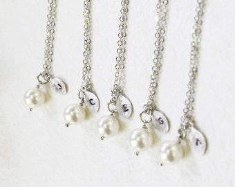 Bridesmaid Gift Set- Set of 4, 5, 6, 7 Pearl with personalized initial silver leaf Necklace - S2313-5