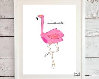 Flamingo Cute Pink Print Illustration Home Decor Nursery Art