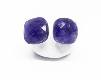 Sapphire & Quartz Doublet Gemstone, 8mm Square, Sterling Silver Posts Studs Earrings, Dark Blue Posts, September Birthstone, E18017