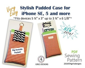 """Instant Download PDF Sewing Pattern for iPhone Padded Case and Fits More up to 6 1/8"""" by 3 3/4"""". NEW DiY Gift for Techies"""