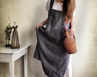Linen Pinafore Apron, Linen Apron, Crafts Apron, Dark Pinafore Dress Woman, Cross Back Apron, no-ties apron, Japanese apron, vintage apron