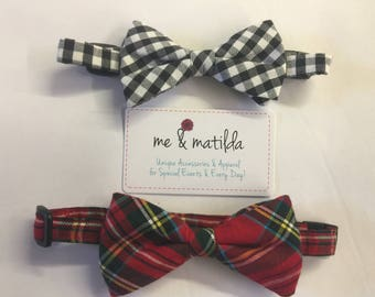 Little Boy's Bow Tie Set Red Tartan Plaid and Black Gingham Ready to Ship