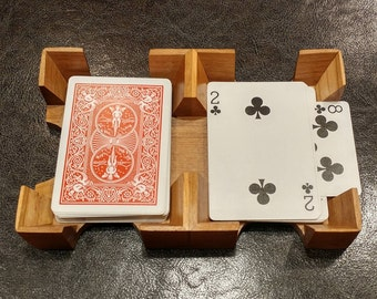 Solid Cherry Wood Canasta / Uno Card Tray