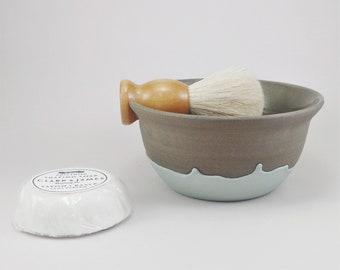 Shaving bowl - Ceramic shaving bowl - Grooming - Shaving dish - Handmade shaving bowl - Stoneware shaving bowl - Grey and blue