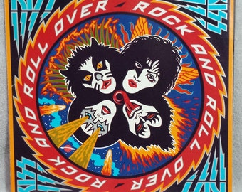 """KISS 1976  Rock and Roll Over 12"""" Vinyl 33 LP Record Vintage Classic Rock - Hard Luck Woman - Dr. Love - Simmons Stanley Casablanca VG/+"""