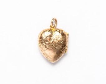 Heart Shaped Rose Gold Floral Engraved Locket