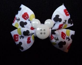 Disney bow - Mickey Parts - white button