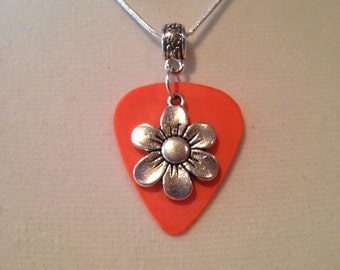 Guitar Pick Necklace Orange with Flower