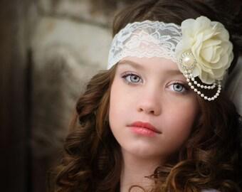 Ivory Flower Headband, Flower Girl Headband, Ivory Bridal Headband, Ivory Lace Headband, Ivory Pearl Headband, Wedding Headband, Photo Prop