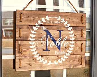 Family Wood Sign Personalized- Custom Outdoor Name Signs- Monogram Door Hanger- Anniversary Gift for Parents- Housewarming Gift- Wood Signs