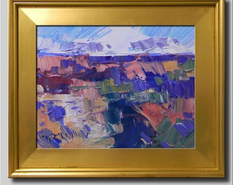 Plein Air Landscape Painting, Impressionist Oil, Grand Canyon Painting, Desert Painting, Fields, Hills, Sky Painting, Abstract Painting