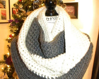 READY TO SHIP Grey and white infinity scarf