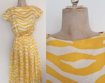 1960's Yellow Striped Animal Print Dress w/ Accordion Pleat Skirt Size Small by Maeberry Vintage