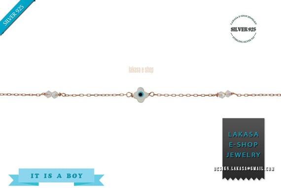 Μother-of-pearl Cross Eye Bracelet Sterling Silver Gold plated Fine Jewelry Swarovski Crystals mama friendship baby bath baptism boy girl