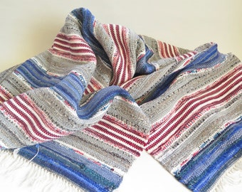 Vintage Long Handwoven Rug Rag, 67,7 x 51 inch, Cotton Woven Blue Gray Red Striped Floor Runner Scandinavian Home Interior #2-22