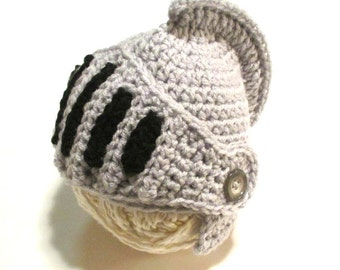 Baby Knight hat.  Light grey and black.  Infant sizes available.  Made to order.  Photography prop for baby boy or girl.