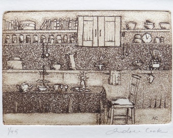 original etching of Grandma's kitchen