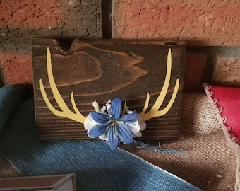 little blue and yellow mini antlers baby boys room wood sign decor