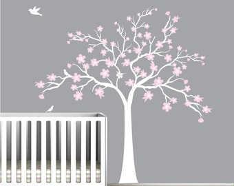 Children Wall Decals Vinyl wall decal tree with flowers-Vinyl Tree Wall Decal-e37