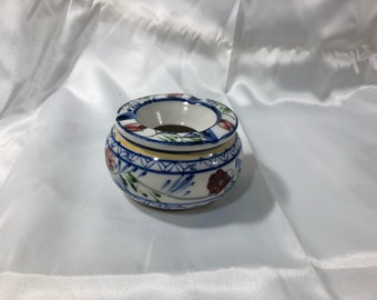 Vintage Ceramic Hand Painted Ashtray Flowers Under Glaze 2 Piece Tobacciana Collectors