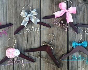 Mini Personalized Wire Wedding Hanger || Dark Wood