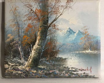 Painting signed oil on canvas mountain + MARCHEF landscape over water