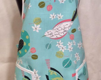 Curvy BBQ Style Apron - Birds and Blossoms/Cotton Apron/Full Apron