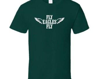 Cool White Wings Fly Fly Philadelphia Football T Shirt
