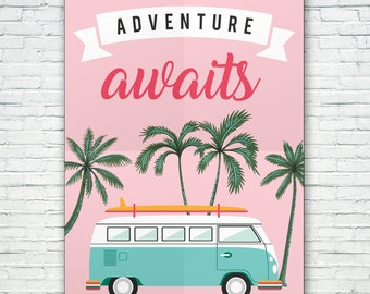 Life is an adventure - Enjoy the ride (Pink/Retro/Summer/Adventure)
