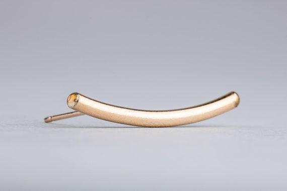 Gold Cartilage Ear Climber in 14K Gold Fill Cartilage Piercing  - Smooth Ear Crawler Earring - Long Bar Earring - Gold Ear Climber
