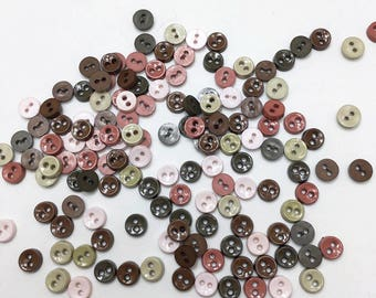 100 pcs of tiny button 6.5mm - Earth Tone Beige Olive Green Dark Green Brown Chocolate Brown