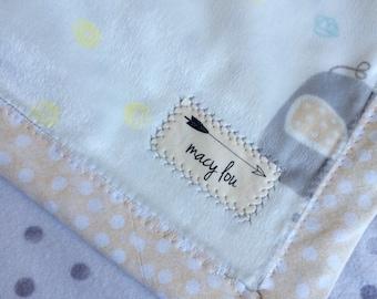Handmade Polka Dot Elephants Neutral Gray Baby/Toddler Blanket