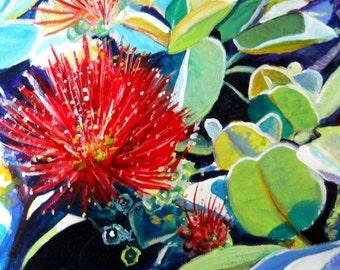 Ohia Lehua  Art Print, Hawaiian art, goddess pele flower, pele lava flower, big island art, Hawaii island art, volcano flower art