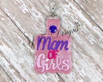 Mom of Girls Key Fob EMBROIDERY FILE