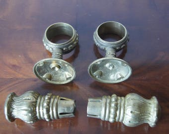 Set of Antique Pair French Drapery Holder and Finials Heavy Brass Hardware