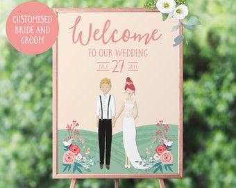 Wedding Welcome Sign, Custom Wedding Sign, Welcome to Our Wedding, Wedding Welcome Poster, Personalised Wedding Sign, Large Wedding Sign