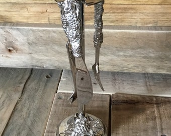 Vintage cheese knives and fork set with holder - art nouveau style decoration - silverplate - fine dining - ideal gift - tableware