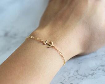 Sideways Anchor Bracelet, Gold Anchor Bracelet, Dainty Bracelet Gold, Dainty, Gold Anchor Jewelry, Anchor Bracelet Nautical, Minimalist