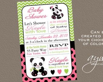 Panda Baby Shower Invitation Girl Invitation Panda Shower Invitation Chevron Invitations Printable Baby Shower Panda Invitations Pink