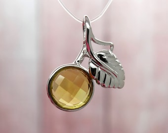 Natural Citrine Pendant Citrine Faceted Round Gemstone Pendant Silver Plated