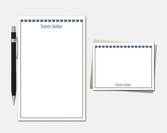 Boxed In Stationery Set - Personalised Stationary Set - Free US Shipping - 50 Color Choices - Personalized Stationery for Men