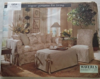 Vogue 1904 Waverly Slipcover pattern for Sofa, upholstered chair, parson's chair, ottoman, pillows